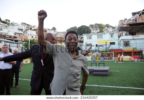 Rio de Janeiro-Brazil September 10, 2014 - Pele during the inauguration of the football field, Mineira community in the central zone of Rio de Janeiro
