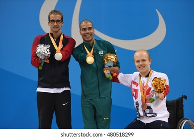 Rio de Janeiro-Brazil September 8, 2016 -swimming paralympic, Brazil's Daniel Dias athlete with gold medal poses at the Paralympics Games 2016