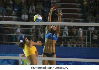 Rio de Janeiro-Brazil-April 10, 2007 - beach volleyball at the Pan American in Rio de Janeiro.