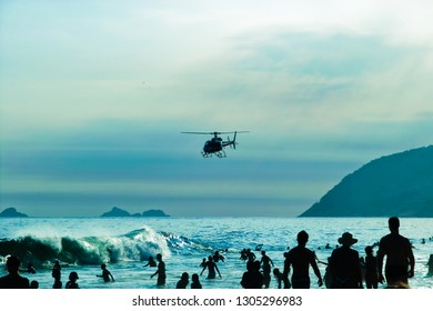 RIO DE JANEIRO-FEB.10 ,2009: rescue helicopters patrols the bay of ipanema