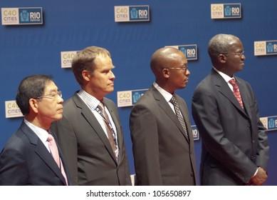 RIO DE JANEIRO-JUNE19:Mayors W.soon Park,Seoul; M.Macri,Buenos Aires; M.Franklyn Tau,Johanesburg; B.Raji Fashola, Gov. of Lagos State at the Event Humanidade 2012 June19,2012 Rio de Janeiro Brazil