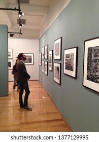 Rio de Janeiro/Rio de Janeiro/Brazil - 08 15 2013: Young boy observing exhibition of photographs