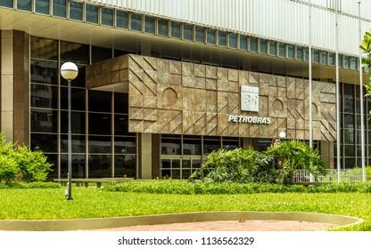 Rio de Janeiro/RJ/Brazil - 01-02-2016: Entrance garden and facade of the Petrobras building in the city center