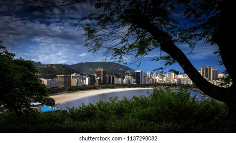 Rio de Janeiro/RJ/Brazil - 01-04-2016: Botafogo Cove seen from Yitzhak Rabin Park on the viewpoint of the hill of the Pasmado