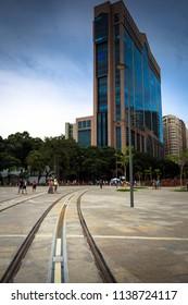Rio de Janeiro/RJ/Brazil -12-29-2015: Rio Branco Building in Maua Square, Neogothic style building with avant la letre shopping mall and modern business center
