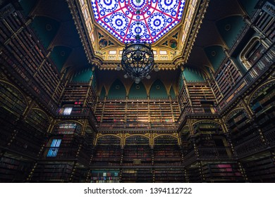 Rio de Janeiro/RJ/Brazil - January 07th 2019: Interior of Real Gabinete Português de Leitura, one of the most Beautiful Libraries in the World, Listed State Cultural Heritage in Downtown Rio