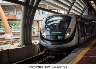 Rio de Janeiro/RJ/Brazil - September 23, 2019: Rio de Janeiro Metro arriving at Cidade Nova Station