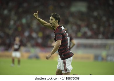 Rio de Janerio, Brazil, June 6, 2019. Flamengo's soccer player Rodrigo Caio celebrates his goal during the Flamengo vs. Corinthians game for the Copa do Brasil at the Maracanã stadium.