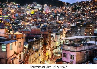 RIO DE JANERO, BRAZIL - July 14, 2014: Rocinha is the largest favela in Brazil located in the South Zone in Rio de Janeiro between Sao Conrado and Gavea.