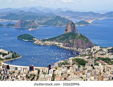 Rio de Janiero Brazil Sugarloaf Mountain aerial view from Corcovado