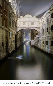 Rio di Palazzo (aka narrow canal), between the Palace of Doge and the prisons. The famous Bridge of Sighs spans the canal.Venice ,Italy.