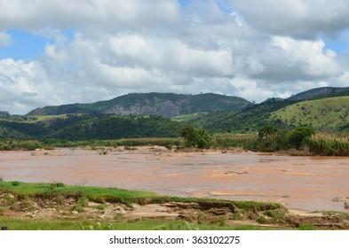 RIO DOCE, AIMORES, BAIXO GUANDU, ESPIRITO SANTO/BRAZIL - FEBRUARY 2013: River Doce slowly down through Espirito Santo State, Aimores, Baixo Guandu, Espirito Santo/Brazil.