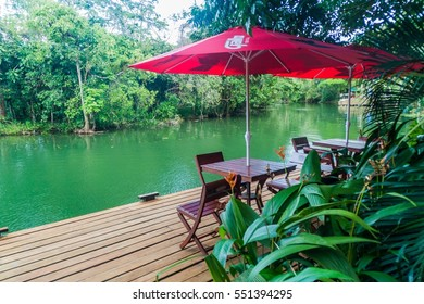 RIO DULCE, GUATEMALA - MARCH 10, 2016: Riverside terrace of Hotel Kangaroo near Rio Dulce river, Guatemala