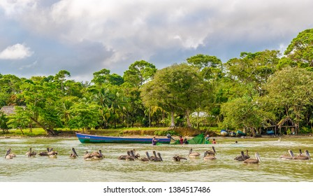 RIO DULCE,GUATEMALA - MARCH 8,2019 - Fishermen work on Rio Dulce. The Rio Dulce National Park is in the department of Izabal in Guatemala.