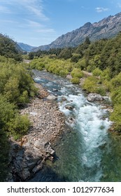 Rio Emperador Guillermo in Northern Patagonia Chile flowing through a lush green valley close to Coyhaique. Very good water for fly fishing but gin clear spooky trout