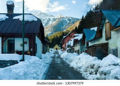 Rio Freddo, Italy (8th February 2019) - The alpine village of Rio Freddo, a hamlet of Tarvisio, with the snow in winter