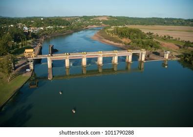 Rio Grande do Sul, Brazil, August 17, 2006. Aerial view of the dam and sluice gate of Bom Retiro do Sul, on the river Taquari in the state of Rio Grande do Sul.