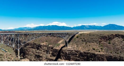 Rio Grande Gorge Bridge, near Taos, New Mexico. Mountains and Blue Skies.