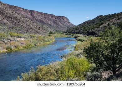 Rio Grande river curves through the Rio Grande Gorge in northern New Mexico in the Rio Grande del Norte National Monument
