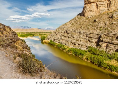The Rio Grande river cuts through the middle of the Santa Elena Canyon in Big Bend.