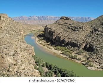 Rio Grande River flowing through a Canyon along the Mexican border in Big Bend National Park, Texas, USA
