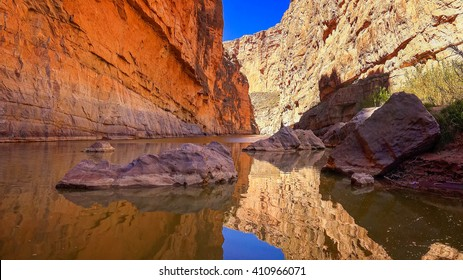 Rio Grande river flows through Santa Elena Canyon in Big Bend National Park