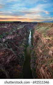 Rio Grande River at Sunset near Taos, New Mexico