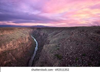 Rio Grande River at Sunset near Taos New Mexico