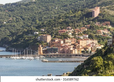 Rio Marina with harbor and watch-tower Torre dell'orologio, Elba, Tuscany, Italy, Europe