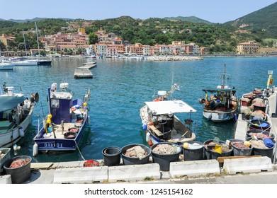 Rio Marina, Italy - 5 July 2011: The village of Rio Marina on Elba island, Italy