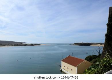 Rio Mira flows into the Atlantic Ocean.Villanova de Milfontes, Alentejo, Portugal. Photo from Forte de Sao Clemente