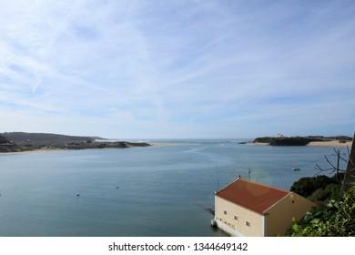 Rio Mira flows into the Atlantic Ocean. Villanova de Milfontes, Alentejo, Portugal. Photo from Forte de Sao Clemente