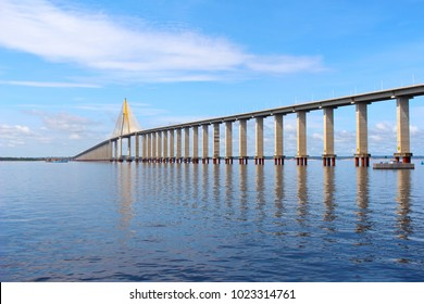 Rio Negro Bridge,  a cable-stayed bridge over the Rio Negro that connects  Manaus and Iranduba in Amazonas, Brazil, South America