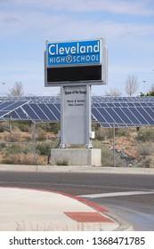 Rio Rancho, NM / USA 4-13-19: V. Sue Cleveland High School Rio Rancho New Mexico RRPS