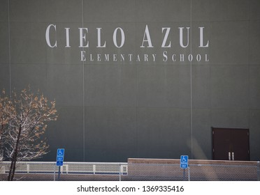 Rio Rancho, NM / USA 4-14-19: Cielo Azul Elementary School Rio Rancho New Mexico RRPS