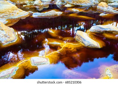 Rio Tinto in Huelva district, Andalusia, Spain. Amazing color of the rocks and water. Red river.