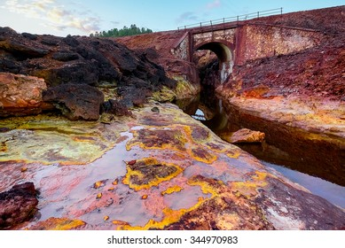 Rio Tinto - river with red water because it have a lot of iron oxide. Spain.