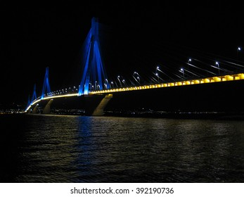 The Rio-Antirrio bridge at night 1 The suspension bridge of Rio-Antirrio in Greece at night