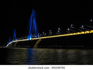The Rio-Antirrio bridge at night 2 The suspension bridge of Rio-Antirrio in Greece at night