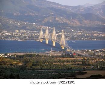 The Rio-Antirrio suspension bridge 1 The suspension bridge of Rio-Antirrio in Greece in daylight