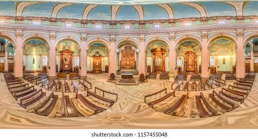 Riobamba, Ecuador. May 2, 2017: Interior of the old circular church of San Felipe Neri in the center of Riobamba. Full spherical 360 degrees seamless panorama, photo for VR AR content