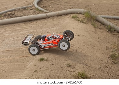 "RIOLO TERME, ITALY - APRIL 26: radio controlled car model scale 1/8 in race ""Seconda gara regionale off road AMSCI"" in dirt track ""ll Pozzo"" on April 26, 2015 in Riolo Terme, RA, Italy"