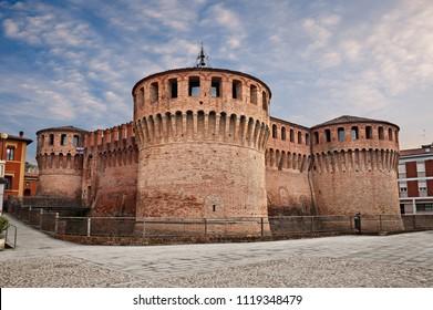 Riolo Terme, Ravenna, Emilia Romagna, Italy: the medieval castle Rocca Sforzesca, old italian fortress in the ancient village