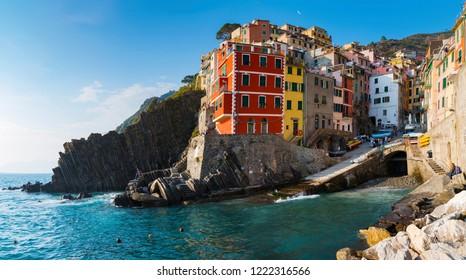 Riomaggiore 1 of 5 fishing village of Cinque Terre, coastline of Liguria in La Spezia, Italy
