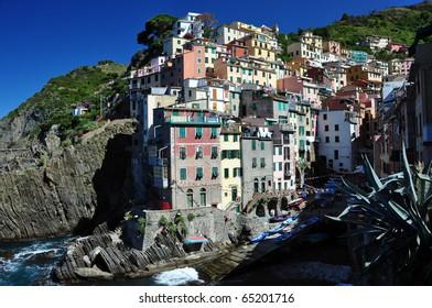 Riomaggiore fishermann village in Cinque Terre, Italy