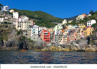Riomaggiore harbor with colorful buildings Cinque Terre Italy
