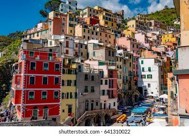 RIOMAGGIORE, ITALY - APRIL 30, 2017 - Cinque Terre. Riomaggiore village in a small valley in the Liguria region of Italy.