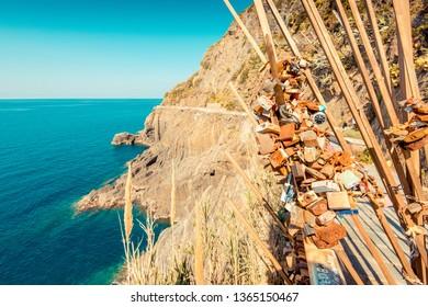 RIOMAGGIORE, ITALY - MARCH, 2019: walk of lovers at Riomaggiore village, Cinque Terre (Italian Riviera Liguria), Italy - famous italian travel destinations