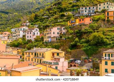 RIOMAGGIORE, ITALY - MAY 5, 2016: Riomaggiore (Rimazuu), a village in province of La Spezia, Liguria, Italy. Cinque Terre, UNESCO World Heritage Site