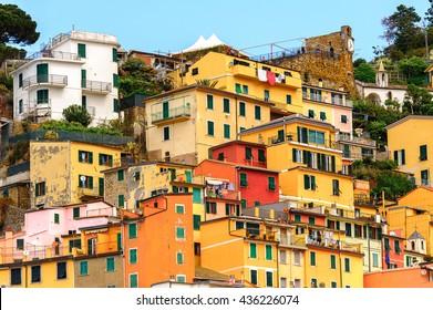 RIOMAGGIORE, ITALY - MAY 5, 2016: Riomaggiore, a village in province of La Spezia, Liguria, Italy. It's one of the lands of Cinque Terre, UNESCO World Heritage Site